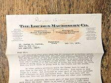 1923 LETTER THE LOUDEN MACHINERY CO. FAIRFIELD IOWA  EASY NEW WAY TO HAUL MANURE