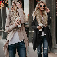 Winter Womens Faux Fur Collar Sweater Long Sleeve Cardigan Jacket Coat Loose Top