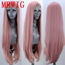 """24"""" Straight Smoke Pink GlueLess Lace Front Wig Women Synthetic Hair"""