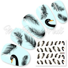 Nail Art Water Slide Decals Stickers Transfers Black Swans, Swan Feathers, K200