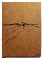 Original Mondern Minimal Landscape Drawing On Recycled Cardboard By K.A.Davis