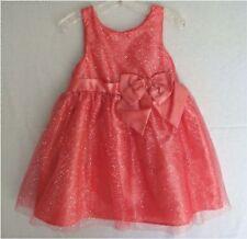 Girls Party Dress Sz 5T Coral Orange & Silver Sparkle NWT!!