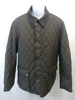 Seaman Green Label Quilted Green Snap Button Up Mens Large Regular Coat Superb