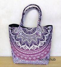 Indian Cotton Pink Ombre Mandala Handbag Women Hippie Tote Carry Shoulder Bags