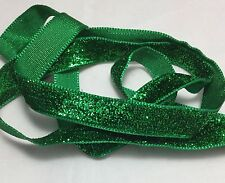 French VELVET Ribbon Lurex Metallic EMERALD GREEN by the yard 13mm 1/2 inch