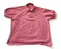 Lacoste Alligator Red Pink Golf Polo Short Sleeve Shirt Mens Size 7 XXL 2XL