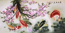 100% ORIENTAL FINE ART CHINESE ANIMAL WATERCOLOR PAINTING-Koi fish carp&Flowers