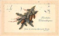 BG3825 weihnachten christmas fir branch embossed  germany   greetings
