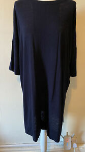 Whistles Navy Blue Wool Blend Jumper Dress Tunic Size M Relaxed Classic