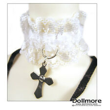 Dollmore LAST ONE  necklace MSD & SD - Cubic Cross Choker (White)