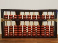 Vintage Red Lion Chinese Wooden Abacus Asian Calculator Classic Counting Math