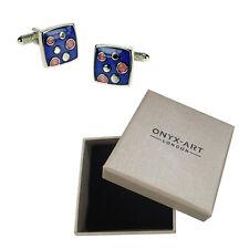 Mens Blue & Pink Design Fashion Cufflinks & Gift Box By Onyx Art
