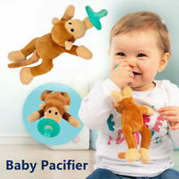 Newborn Plush Pacifier Holder Clip Cover Infant Baby Animal Toy Teeth Soother UP