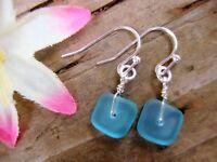 Square Caribbean Blue SEA GLASS Silver Dangle Earrings
