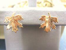 LQQK Gorgeous 14k Russian Rose GOLD Maple Leaf Stud Earrings Ladies Must See!