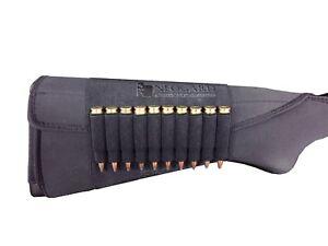 Rifle Ammo Cartridge Buttstock Holder Cover - Holds 10 bullets - BLACK