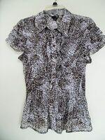 EAST 5TH Sz PL  Womens  Multi Ruffle Accordion Stretch Animal   Print  top shirt