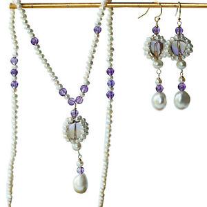 Nice Natural Ametrine Freshwater pearl necklace earring jewlery set #02