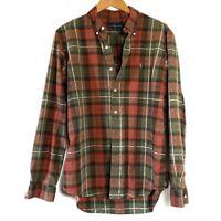 Ralph Lauren Men's Orange Green Plaid Custom Fit Button Down Shirt Large