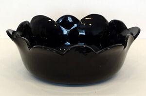 """STEUBEN GLASS Vintage MIRROR BLACK Art Deco HUGE! 11"""" Bowl /Fleur de lis SIGNED!"""