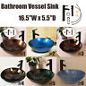 New Bathroom Tempered Glass Vessel Sink Top Basin Bowl Faucet Pop-up Drain Set