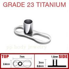 3mm Rise - 2 Hole Single Piece 14GA Solid G23 Titanium Dermal Anchor Base