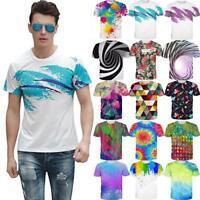 Splatter Painted 3D Print Women Men T-Shirt Casual Short Sleeve Summer Tee Tops