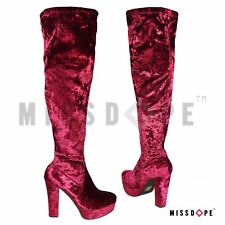 NEW VELVET RED WINE OVER THE KNEE HIGH BOOTS WOMENS PARTY PLATFORM DISCO CRUSHED