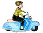 SCOOTER GIRL Wind Up Tin Toy Vespa Vintage Style Blue Edition