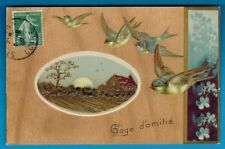 Carte Postale Gaufree-Gage d'Amitie-Medaillon-Bird-Flowers-Miosotis-(B.23)