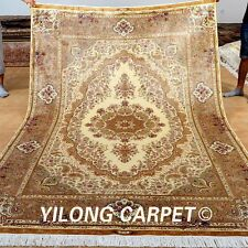 Yilong 6'x9' Persian Silk Rugs Hand Knotted Discount Floral Carpet Handmade 0259
