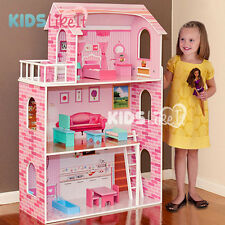 New GIRLS Pink Wooden Pretend Play Doll House w/ Full Furniture SET