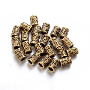 Viking Norse Rune Beard Beads Hair Rings Set of 24 Gold Futhark Stainless Steel