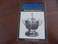 EPSOM RACE CARD AUGUST 29TH, 1972 - ARCHIE SCOTT MEMORIAL DAY.