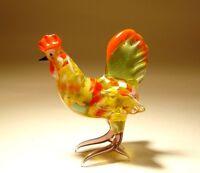 Blown Glass Animal Art Figurine Yellow and Red Bird Chicken Rooster HEN