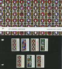 Alderney 2015 MNH Christmas Anne French Stained Glass 7v Set Pres Pack Stamps