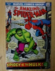 AMAZING SPIDERMAN #119 1973 SHARP VF CLASSIC COVER HULK VS SPIDER-MAN!!