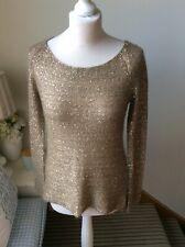 PHASE EIGHT Gold Sequin Scoop Neck Jumper Long Sleeve Size 10 9% Mohair Autumn