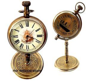 Titanic Desk Clock Handcrafted 5'' Nautical Antique Beautiful Brass Table Watch