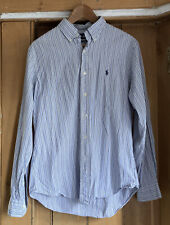 Ralph Lauren Mens Blue Stripe Shirt Size Mediim Custom Fit Used