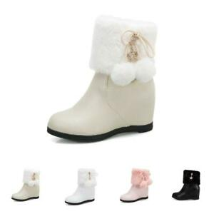 Sweet Womens Fur Trim Pom Pom Zip Ankle Boots Round Toe Wedge Heel Casual Shoes