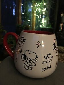 Peanuts~Snoopy~You Are So Loved~Love Notes~Valentine Round Ceramic Large Mug~Red