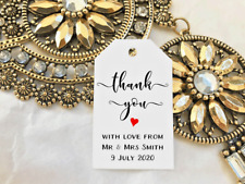 White Gift Tags Wedding Favour Bomboniere Personalised Thank you With Love
