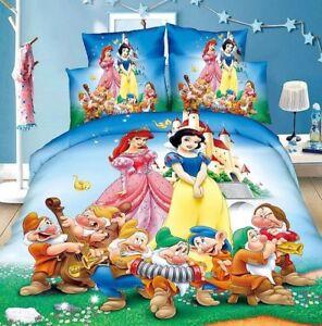 Kids Bedding Set Disney's Snow White Duvet Comforter Cover Pillow Case colorful