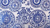 1/2 YD DAMASK JACQUARD BROCADE FABRIC : CHINA QINHUA RETRO FLORAL PLATE MANDALA