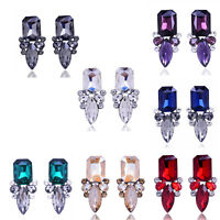 Women Square Shape Crystal Rhinestone Pendant Ear Stud Clip Earrings Jewellery