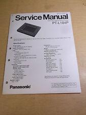 Panasonic PT-L104P LCD Projection Panel Service Manual *FREE SHIPPING*