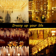 400LED Icicle Curtain String Lights Lamps Christmas Wedding Party Indoor Outdoor