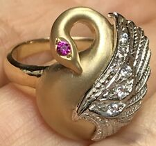 GOLD Swan Ring 14k yellow white Simulated Diamond Ruby  7 4 5 6 8 9 10 5.4g