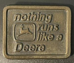 VINTAGE Pewter Belt Buckle JOHN DEERE Nothing Runs Like a Deere